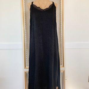 Bobeau Satin Slip Dress Black Large